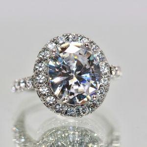 18k Gold Dipped White Topaz Halo Engagement Ring
